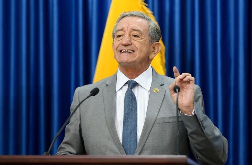 The Defense Minister of Ecuador Oswaldo Jarrín, at a press conference Nov. 14 2018 in Quito (Ecuador). EPA- EFE/José Jácome