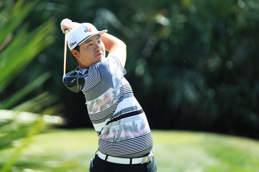 Sungjae Im plays a shot off the second tee during the final round of the Honda Classic in Florida on Sunday.