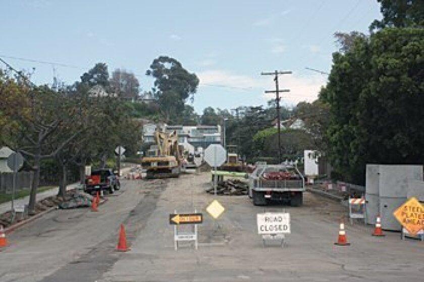 Crews work on the upper part of Pearl Street last week. Photo: Courtesy