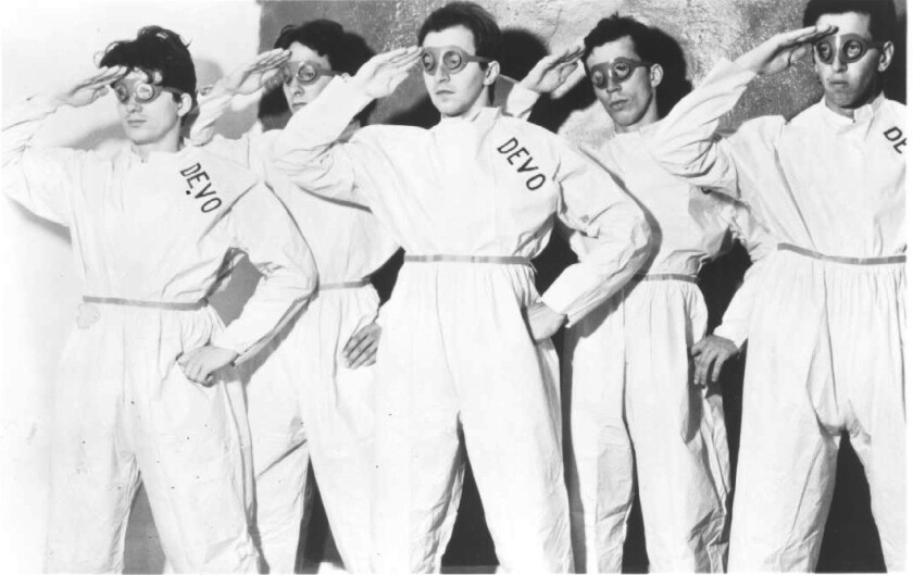 Devo, in an undated publicity photo. Guitarist and keyboardist Bob Casale, far right, has died.
