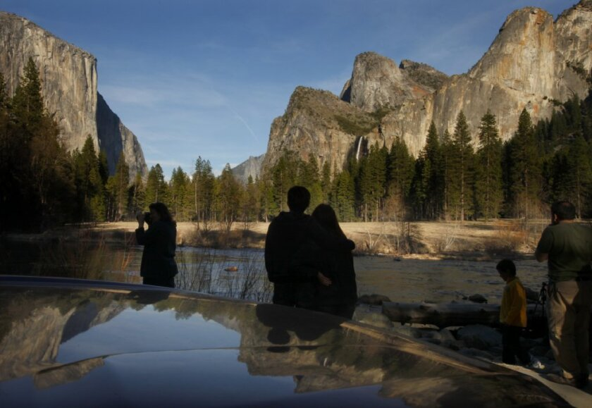 Visitors in the Yosemite Valley.