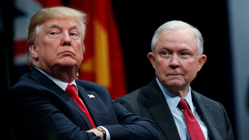 Atty. Gen. Jeff Sessions, right, spoke last week with the special counsel's office, which is investigating whether anyone from President Trump's team assisted Russian interference in the 2016 campaign.