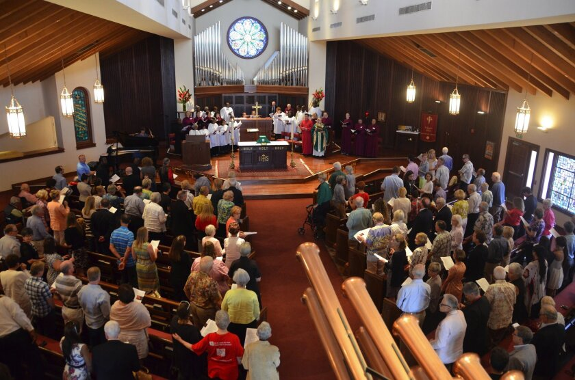 The congregation gathered for the last time at St. James the Great Episcopal Church on Via Lido in Newport Beach in 2015. Since then, parishioners have met in a park and at a museum; now they are moving to the Newport Beach Civic Center.