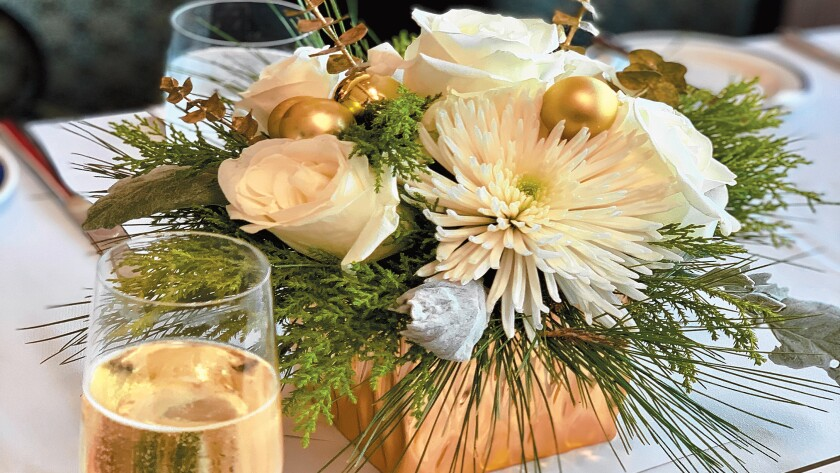 One of the flower arrangements made by VGCLJ members and sold at the Village Garden Club of La Jolla's Holiday Luncheon, Dec. 12, 2019 at The Marine Room in La Jolla.
