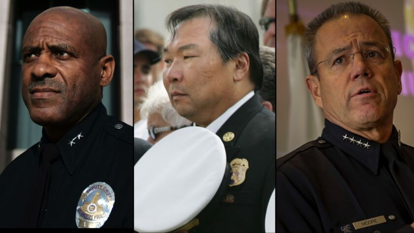 From left: APD Assistant Chief Earl Paysinger, former Assistant Fire Chief Emile Mack and LAPD Chief