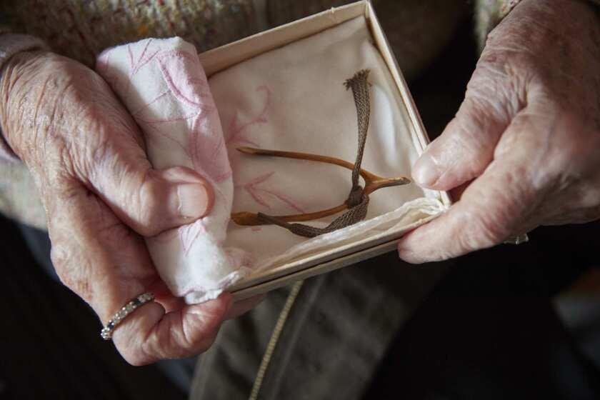 D-DAY NURSE, FRANCE - JUNE 4: American World War II veteran Ellan Levitsky (99), holds her chicken w