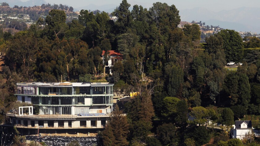 BEL AIR, CA - OCTOBER 17, 2018 - - The unfinished mansion of Mohamed Hadid rests on a hillside in B