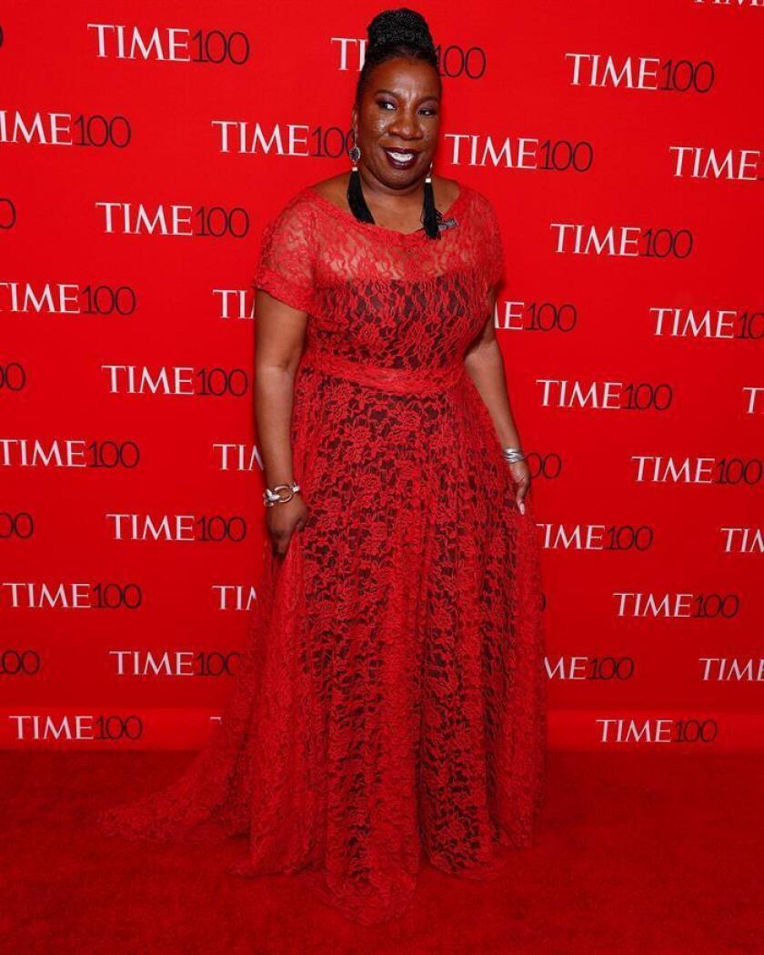 La activista Tarana Burke, quien lideró los inicios del movimiento 'Yo también', llega a la Gala Time 100 en el Frederick P. Rose Hall, en Nueva York (EE.UU.). EFE/Archivo