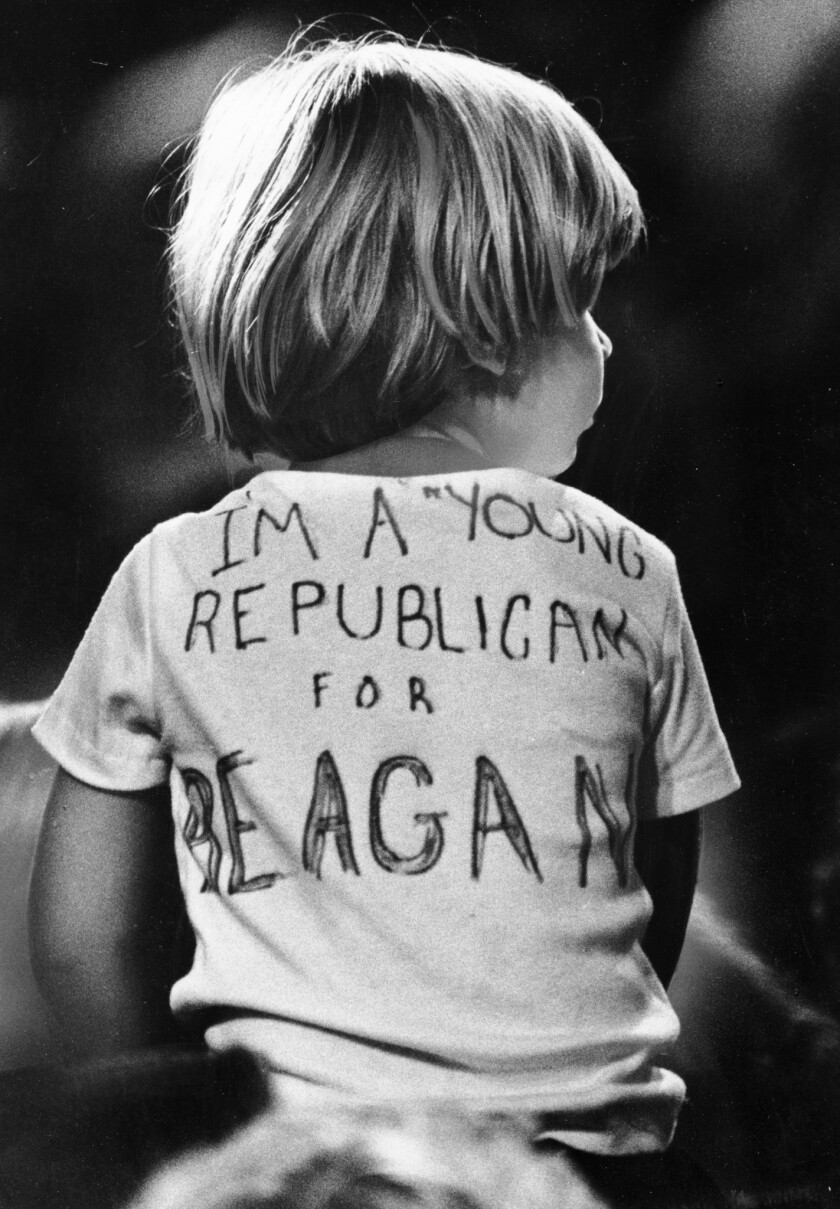 Nov. 4, 1980: A young Republican at the election night party for Ronald Reagan at the Century Plaza Hotel.