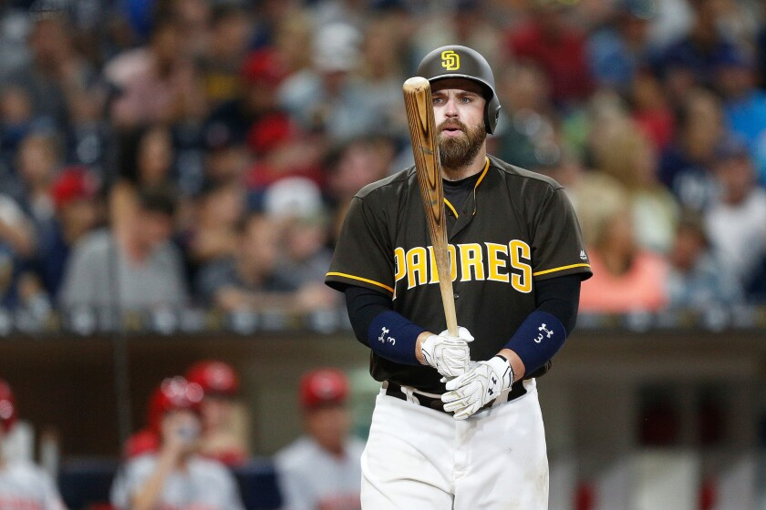 San Diego Padres catcher Derek Norris steps up to the batting plate against the Reds.