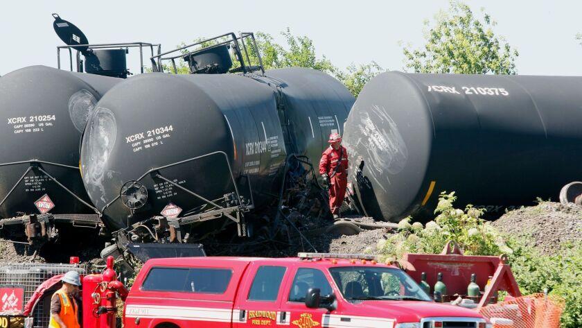 Last week's derailment of a Canadian railroad oil tanker in Illinois.