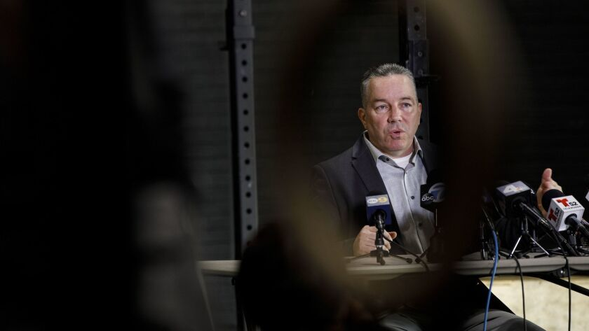 LA County Sheriff candidate Alex Villanueva speaks to the media on Wednesday, November 7, 2018 in Wh