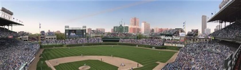 FILE -This file photo shows an artist rendering provided May 1, 2013 by the Chicago Cubs showing planned renovations at Wrigley Field. The Cubs said that have reached an agreement with the city that would allow the team to build a Jumbotron in left field at the team's historic ballpark while adding another sign in right field. The agreement over the changes to Wrigley Field must be approved by Chicago's landmarks commission, which is meeting Thursday, July 11, 2013. A team spokesman said the Ju