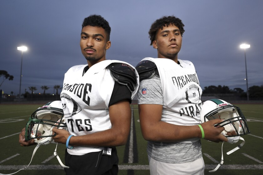 Trejan Apodaca (left) and Jalen Ramsey have helped Oceanside thrive on the road.