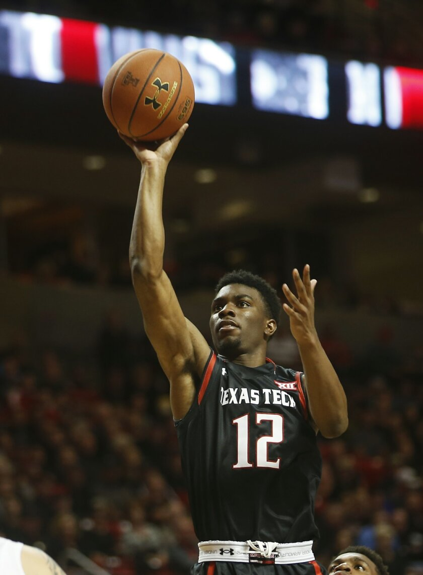 Texas Tech's Keenan Evans shoots the ball during the first half of an NCAA college basketball game against Oklahoma, Wednesday, Feb. 17, 2016 in Lubbock, Texas. (AP Photo/Brad Tollefson)