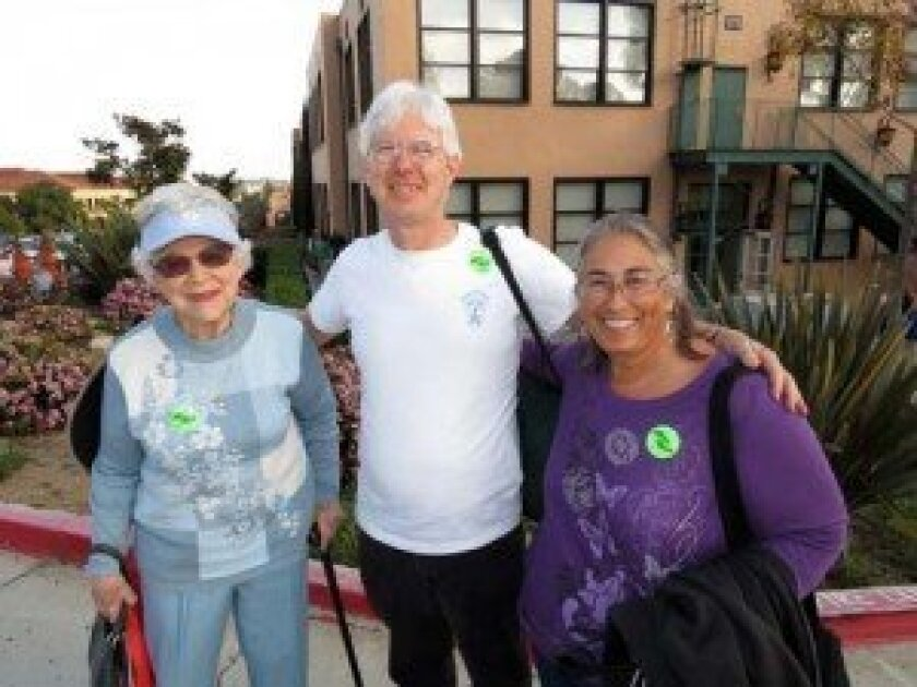 (from left) Kay Hughes, Walkabout founder Larry Forman and Walkabout trip leader Jane Zeer. Courtesy