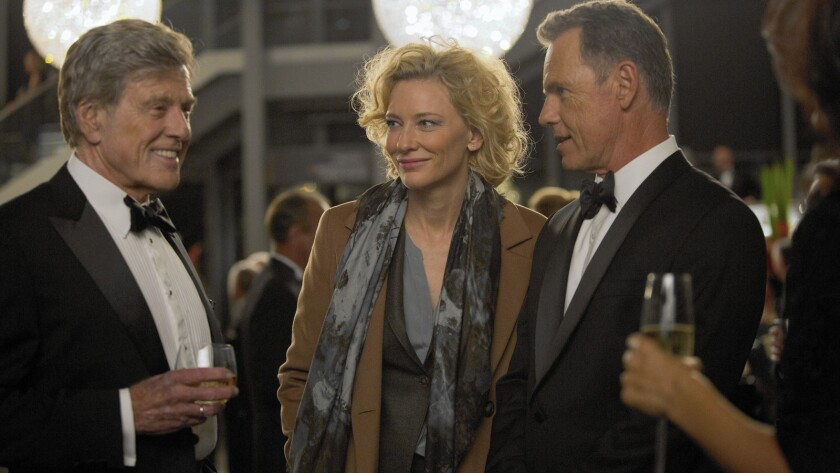 """Robert Redford as Dan Rather, Cate Blanchett as Mary Mapes and Bruce Greenwood as Andrew Heyward in """"Truth."""""""