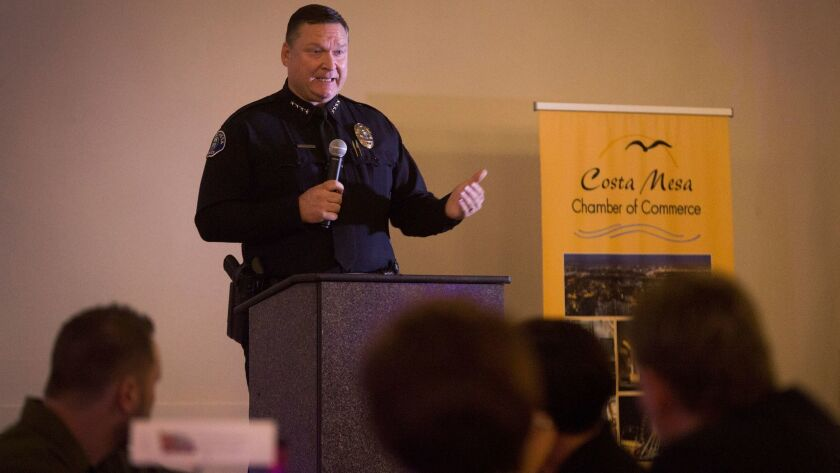 Costa Mesa Police Chief Rob Sharpnack speaks during a dinner hosted by the Costa Mesa Chamber of Com