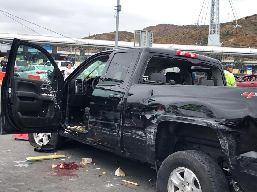 The suspect was taken to the General Hospital of Tijuana for medical attention and later, turned over to the Public Ministry, said the agency. This is the suspect's vehicle.