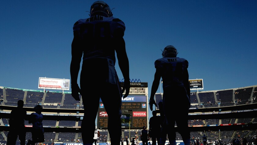 Chargers players prepare to warm up for a game at Qualcomm Stadium, the home field they would like to leave.