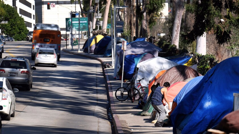 Homeless residents of downtown Los Angeles