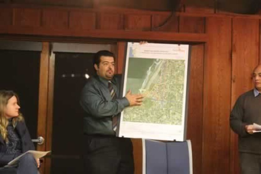 Project Manager Akram Bassyouni presents the pipeline replacement plans at the La Jolla Shores Association meeting. Ashley Mackin