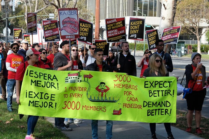 About 4,000 Kaiser Permanente mental health providers in California threaten a five-day strike starting Monday.