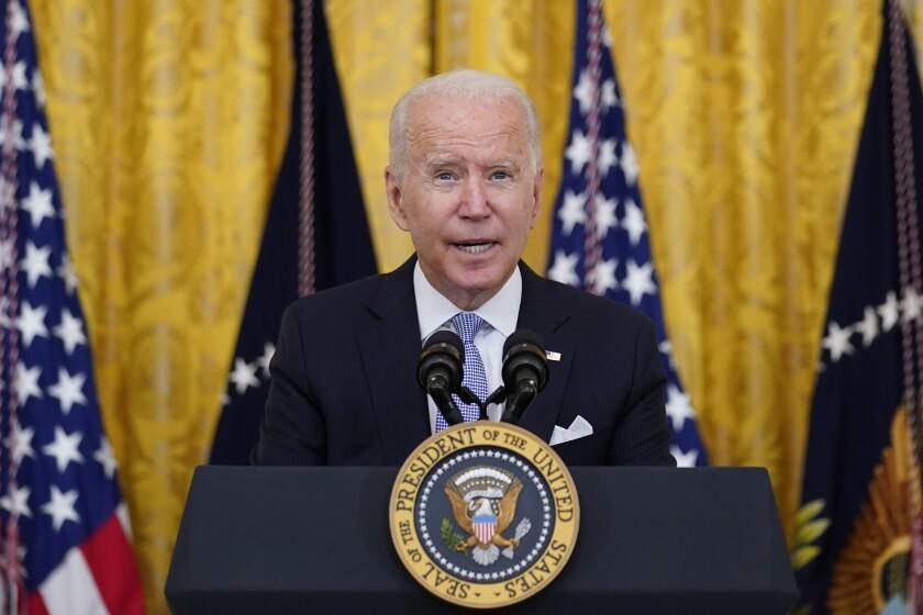 El presidente Joe Biden en la Casa Blanca en Washington el 29 de julio de 2021. (AP Foto/Susan Walsh, File)