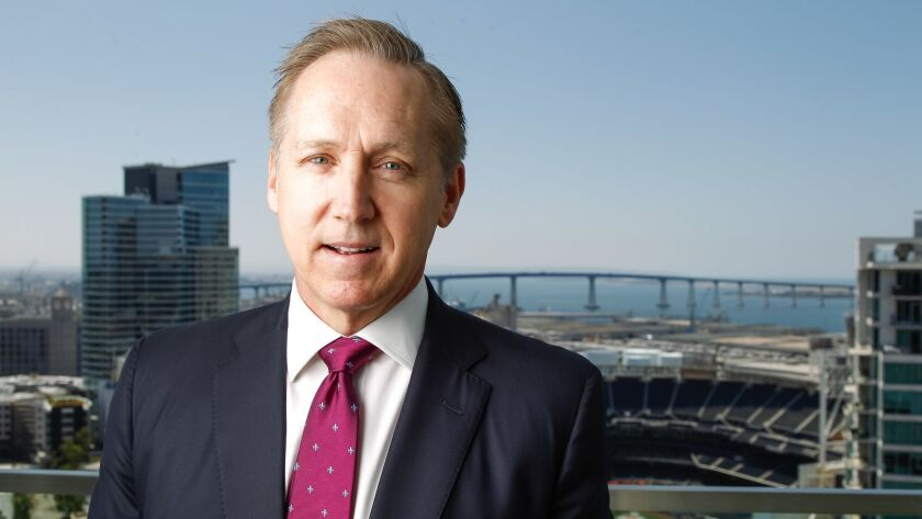 Sempra Energy CEO Jeff Martin, in a file photo taken in April from the company's headquarters in downtown San Diego, California.
