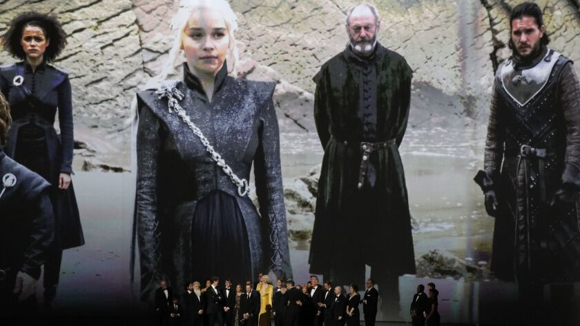 LOS ANGELES, CA., September 17, 2018: ? ? The cast and crew of Game of Thrones on stage accepting th