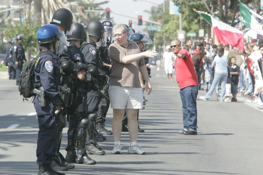 Police geared up for trouble in a rally promoting National City as a sanctuary city in 2006. There were no disturbances.