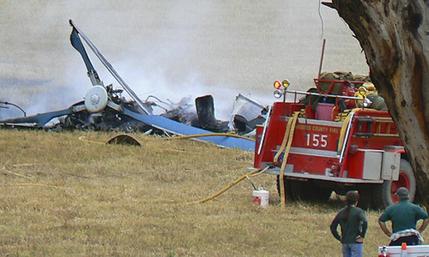 The wreckage from the helicopter crash on Catalina Island that killed three and sent three others to the hospital.