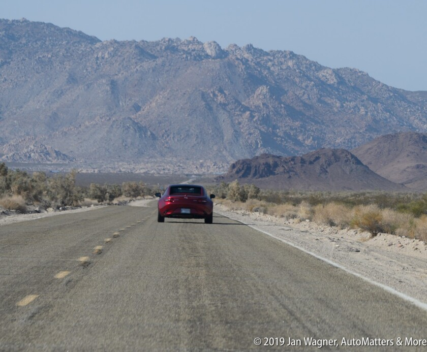 Monotonous driving on a deserted open road