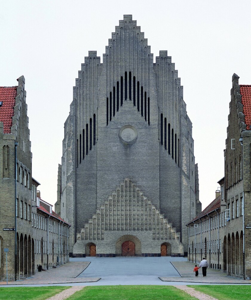 "A photograph featured in Phaidon's book ""Brick"" of Grundtvig's Church, Copenhagen, 1927, Peder Vilhelm Jensen-Klint."