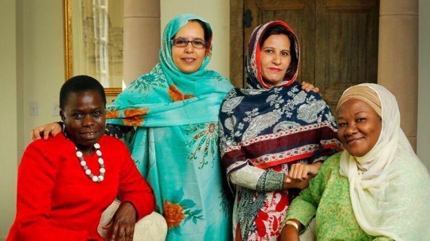 The University of San Diego's 2016 PeaceMakers, from left, are Jane Anyango from Kenya; Fatma Mehdi Hassan of Western Sahara; Khurshid Bano of Pakistan; and Hamsatu Allamin of Nigeria.