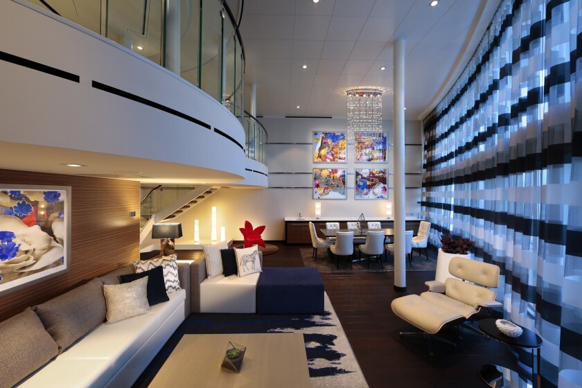 The Royal Loft Suite, shown here on Anthem of the Seas, is a good bet for families.
