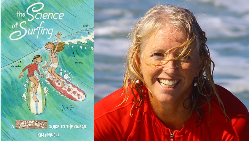 """Kim Dwinell is shown with the cover of """"The Science of Surfing: A Surfside Girls Guide to the Ocean."""""""