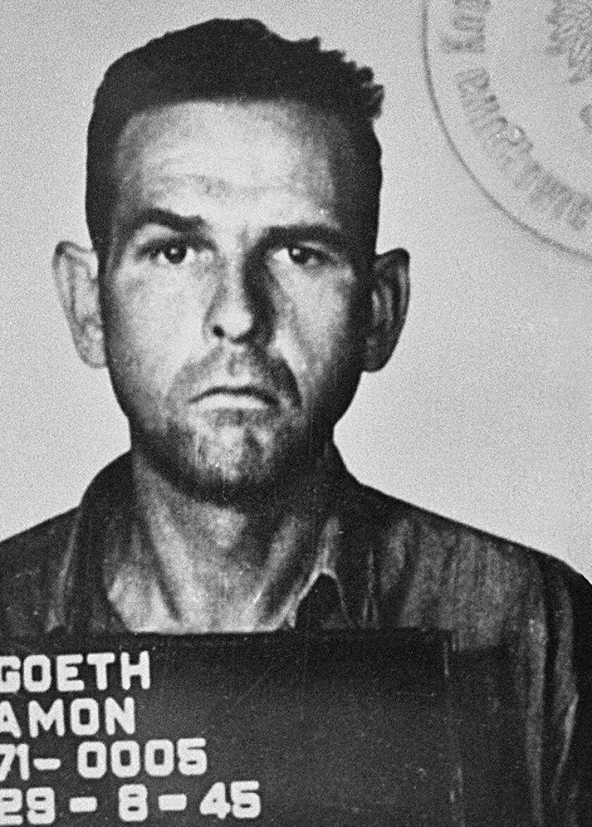 Amon Goeth (c. 1945) was an Austrian SS-Hauptsturmführer and commandant of the concentration camp in Płaszów in German-occupied Poland for most of the camp's existence during World War II.