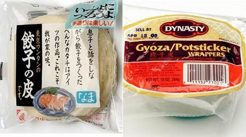 TENDER: The top two dumpling skins, Gyoza No Kawa, left, and Dynasty, won points for their delicacy.
