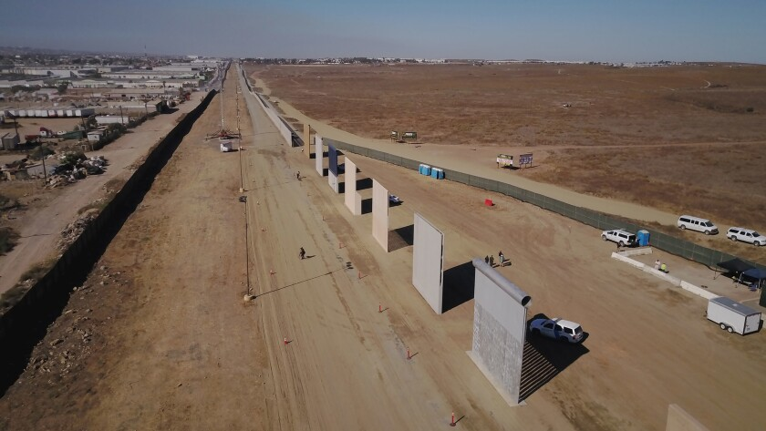 Prototype border wall sections on San Diego's Otay Mesa.