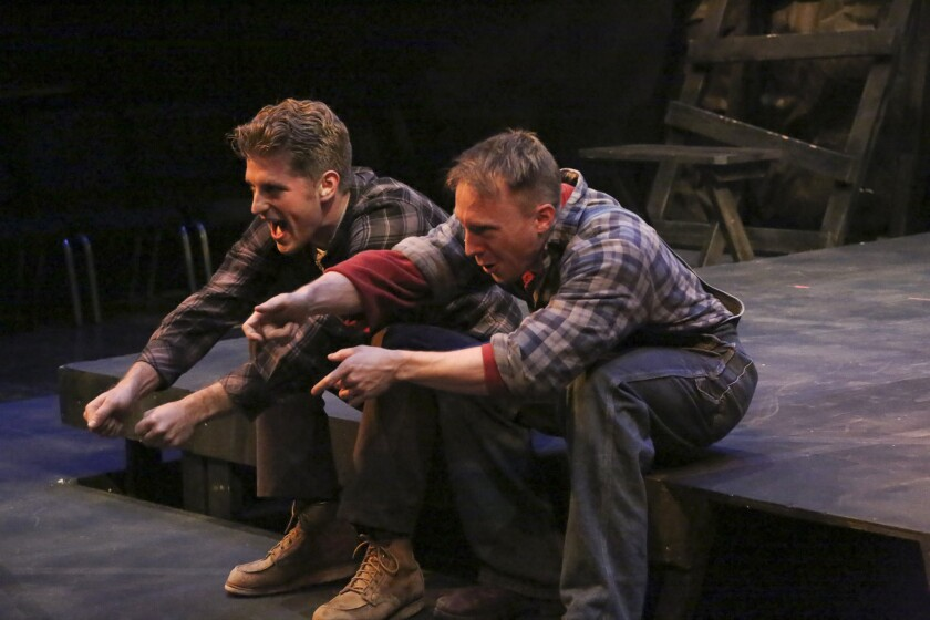 """Jonah Platt, left, and Mark Whitten star in the La Mirada Theatre for the Performing Arts' production of """"Floyd Collins,"""" which was nominated for the 2014 Los Angeles Drama Critics Circle Award for best production."""