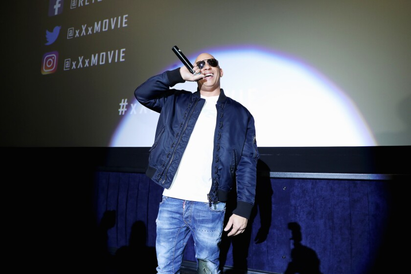 """Vin Diesel attends a promotional event for """"XXX: Return of Xander Cage"""" at Regal LA Live."""