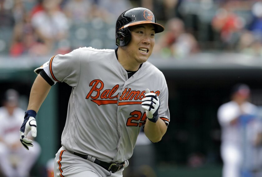 FILE - In this May 29, 2016, file photo, Baltimore Orioles' Hyun Soo Kim runs the bases after hitting a solo home run off Cleveland Indians relief pitcher Jeff Manship in the seventh inning of a baseball game in Cleveland. Kim received a lesson in baseball at the end of the bench in Baltimore, and