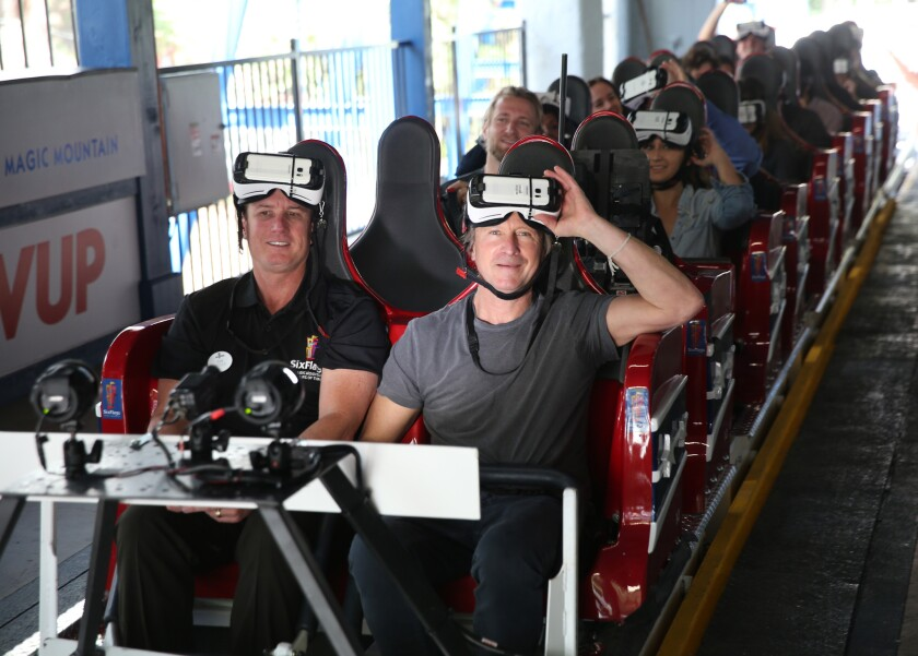 Samsung is a sponsor of the New Revolution at Six Flags Magic Mountain, a roller coaster that puts virtual reality goggles on riders so they can get the sensation of flying through space.