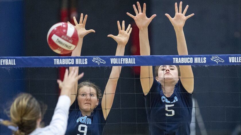 Corona del Mar's Bella Pouliot, center, and Karly Recker attempt to block a shot by Trabuco Hills' K