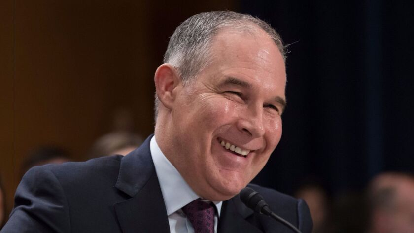 Scott Pruitt, President Trump's nominee to head the EPA, testifies on Capitol Hill last month.