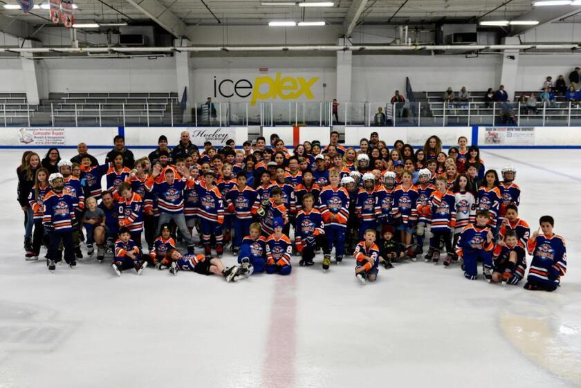 Members of the Jr. Gulls youth hockey program at Ice-Plex in Escondido.