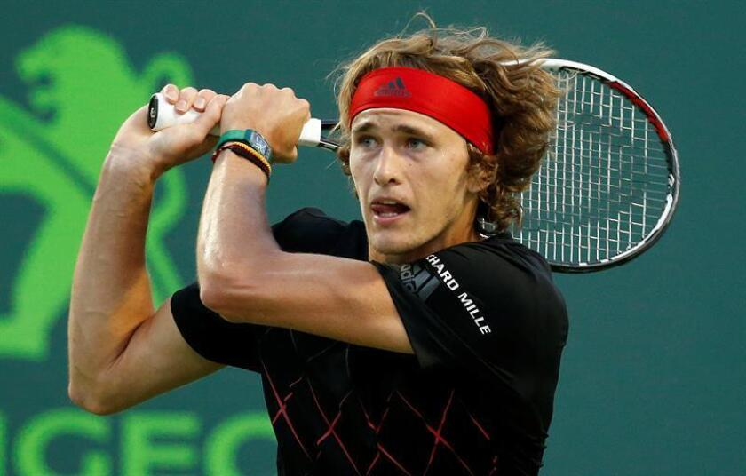 Alexander Zverev of Germany in action against Pablo Carreño Busta of Spain during their semifinal match at the Miami Open tennis tournament in Key Biscayne, Miami, Florida, USA, 30 March 2018. EFE