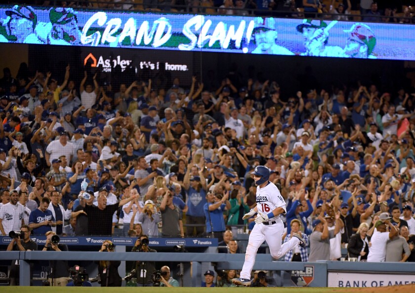 LOS ANGELES, CALIFORNIA - AUGUST 01: Will Smith #16 of the Los Angeles Dodgers reacts to his grand slam homerun, to take a 5-2 lead over the San Diego Padres, during the sixth inning at Dodger Stadium on August 01, 2019 in Los Angeles, California. (Photo by Harry How/Getty Images) ** OUTS - ELSENT, FPG, CM - OUTS * NM, PH, VA if sourced by CT, LA or MoD **