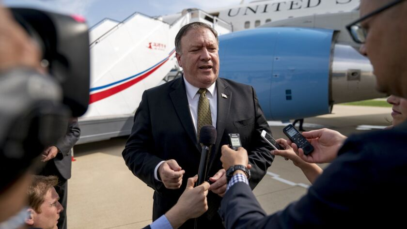 Secretary of State Michael R. Pompeo speaks to the media on July 7 after meetings with Kim Yong Chol, a North Korean senior ruling party official and former intelligence chief, in Pyongyang.